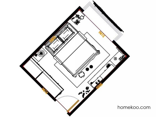 平面布置图格瑞丝系列卧房A11408
