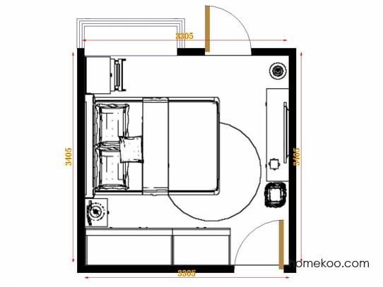 平面布置图格瑞丝系列卧房A11453