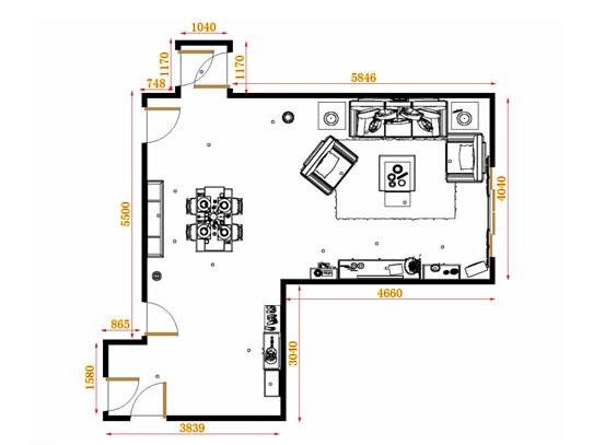 平面布置图贝斯特系列客餐厅G10573