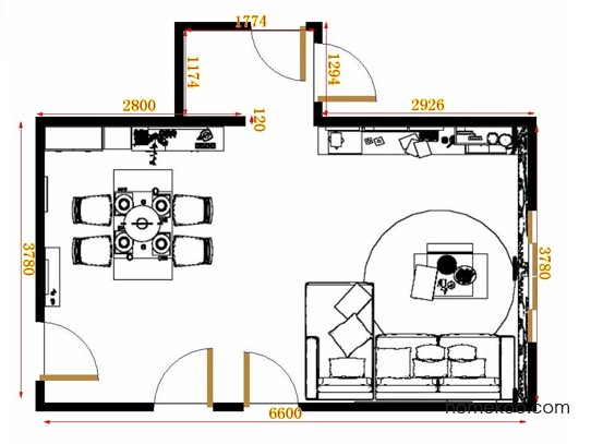 平面布置图斯玛特系列客餐厅G10885