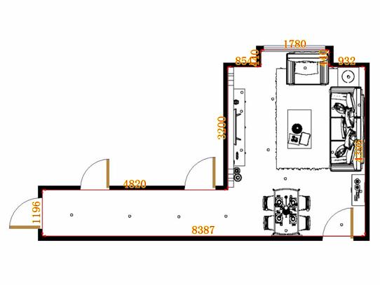 平面布置图德丽卡系列客餐厅G10910