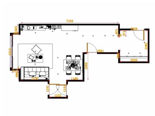 平面布置图格瑞丝系列客餐厅G11014
