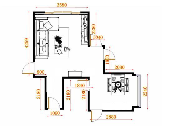 平面布置图贝斯特系列客餐厅G11013
