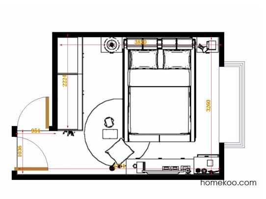 平面布置图德丽卡系列卧房A12027