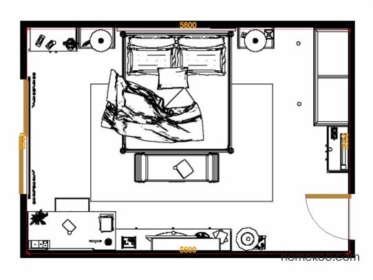 平面布置图德丽卡系列卧房A12180