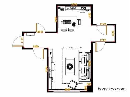 平面布置图斯玛特系列客餐厅G11213