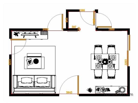 平面布置图德丽卡系列客餐厅G11382