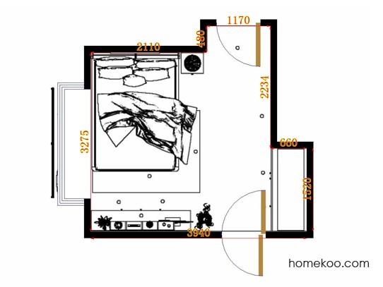 平面布置图德丽卡系列卧房A12683