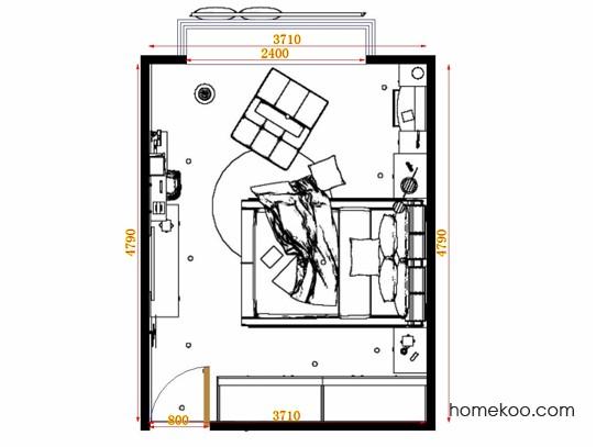 平面布置图德丽卡系列卧房A12767