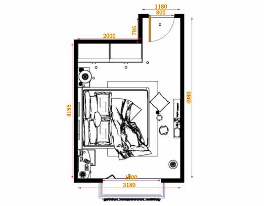 平面布置图乐维斯系列卧房A12874