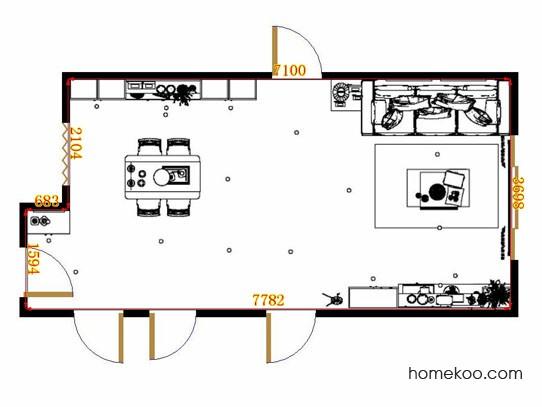 平面布置图德丽卡系列客餐厅G12808