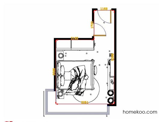 平面布置图格瑞丝系列卧房A12885