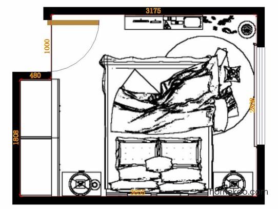 平面布置图德丽卡系列卧房A12960