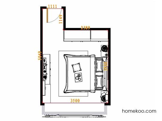 平面布置图德丽卡系列卧房A13015