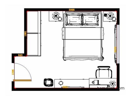 平面布置图贝斯特系列卧房A13031