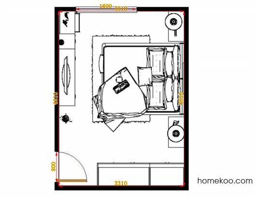 平面布置图德丽卡系列卧房A13063