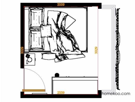 平面布置图德丽卡系列卧房A13107