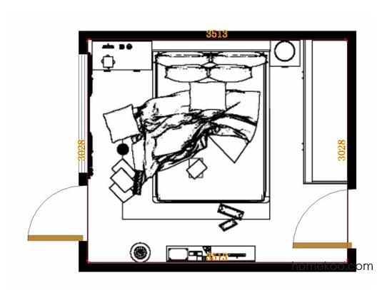 平面布置图斯玛特系列卧房A13109