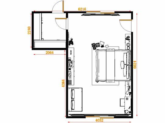 平面布置图格瑞丝系列卧房A13125