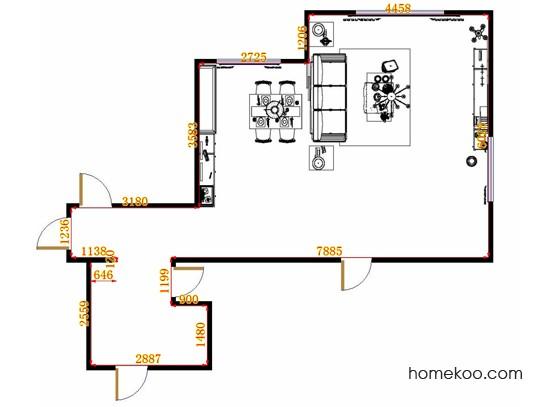 平面布置图德丽卡系列客餐厅G13196