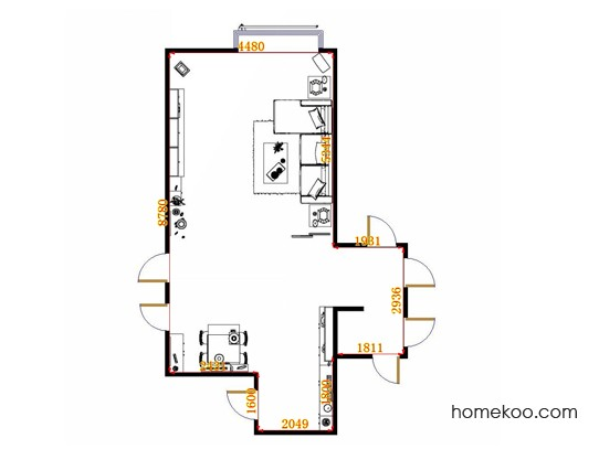 平面布置图德丽卡系列客餐厅G13412