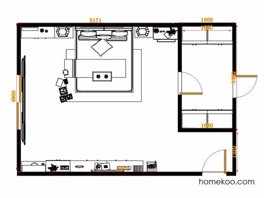 平面布置图斯玛特系列卧房A13363