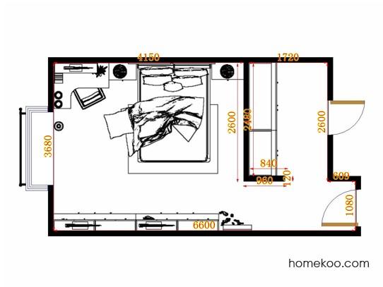 平面布置图格瑞丝系列卧房A13374