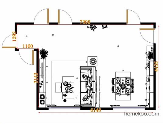 平面布置图德丽卡系列客餐厅G13893
