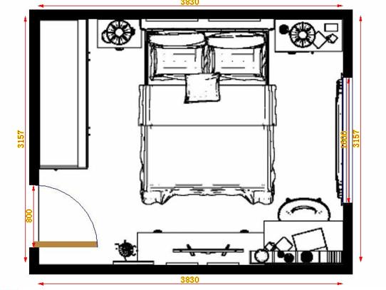 平面布置图德丽卡系列卧房A13713
