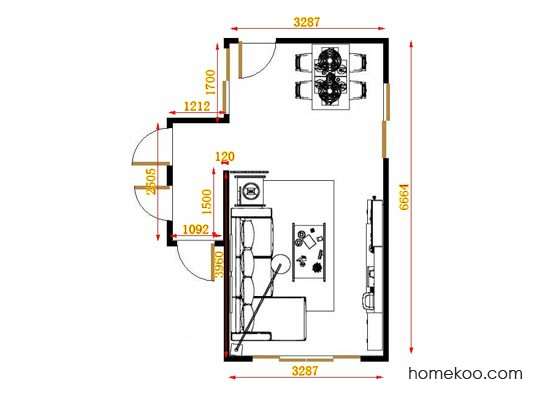 平面布置图德丽卡系列客餐厅G14008