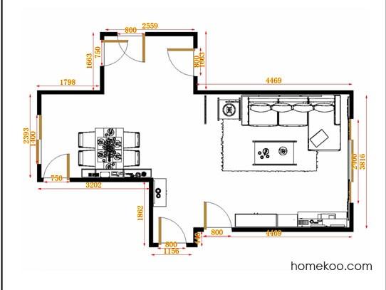 平面布置图斯玛特系列客餐厅G14058
