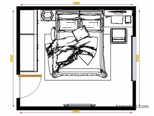 平面布置图格瑞丝系列卧房A13925
