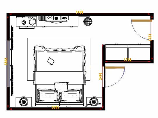 平面布置图乐维斯系列卧房A14025
