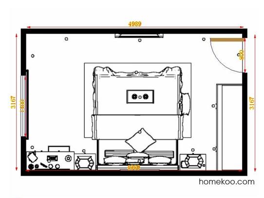 平面布置图德丽卡系列卧房A14038