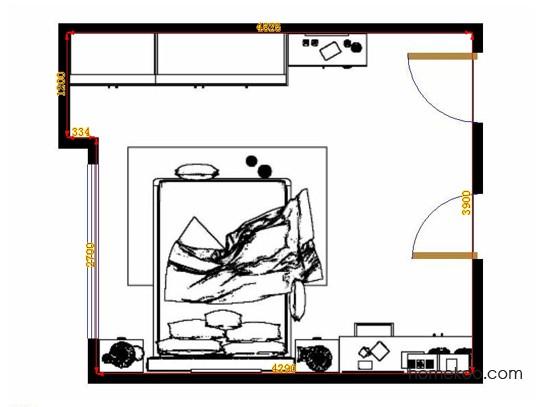 平面布置图乐维斯系列卧房A14073