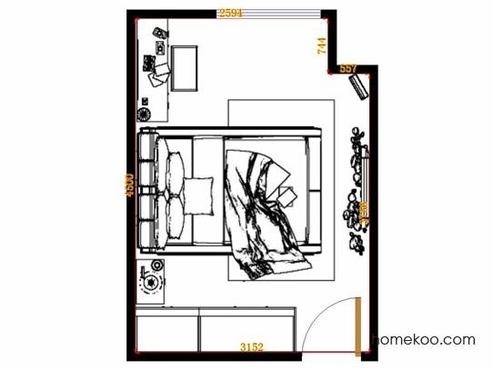 平面布置图乐维斯系列卧房A14090