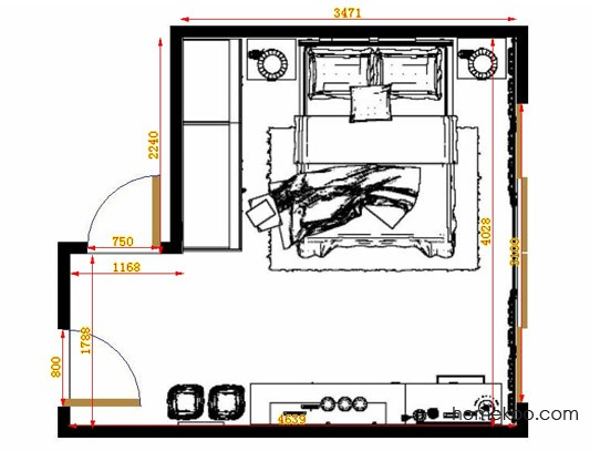 平面布置图乐维斯系列卧房A14117