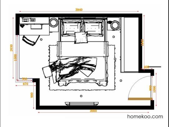 平面布置图乐维斯系列卧房A14124