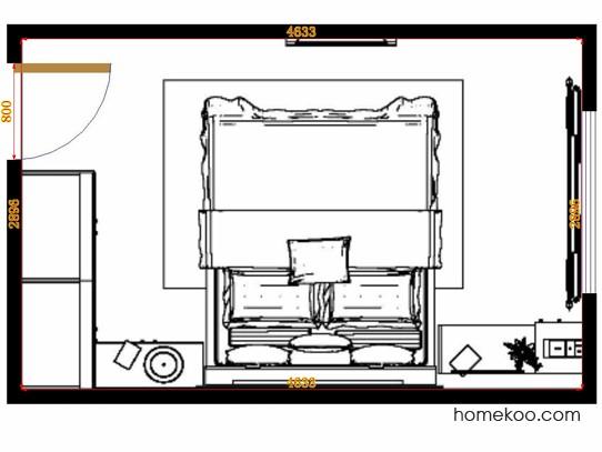 平面布置图柏俪兹系列卧房A14143