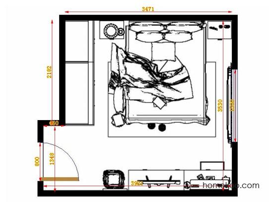 平面布置图柏俪兹系列卧房A14148