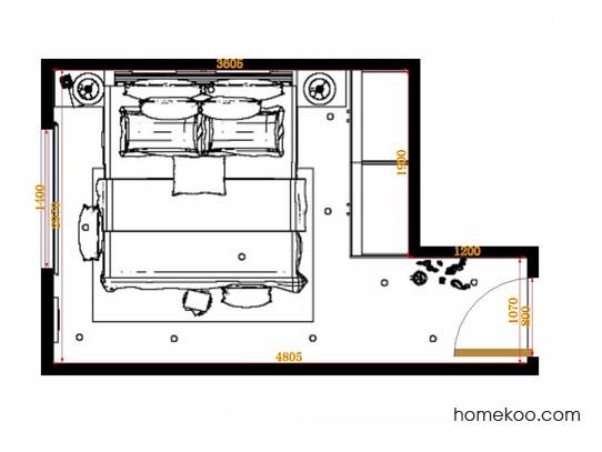 平面布置图柏俪兹系列卧房A14161