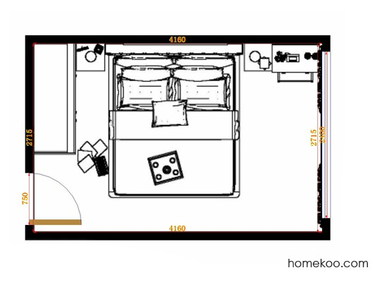 平面布置图德丽卡系列卧房A14203