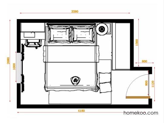 平面布置图柏俪兹系列卧房A14225