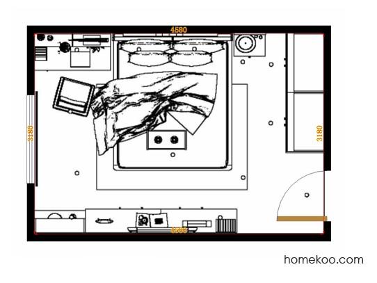平面布置图德丽卡系列卧房A14243