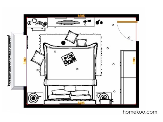 平面布置图德丽卡系列卧房A14245