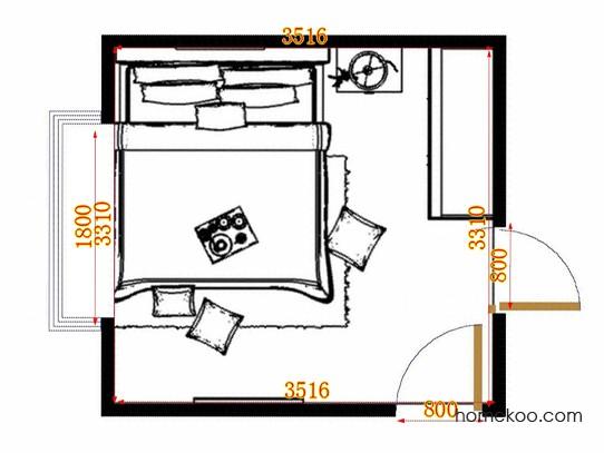 平面布置图贝斯特系列卧房A14263