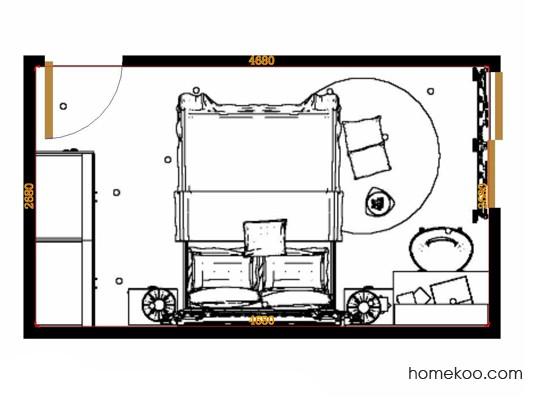 平面布置图德丽卡系列卧房A14275