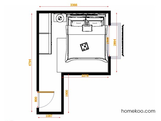 平面布置图柏俪兹系列卧房A14300