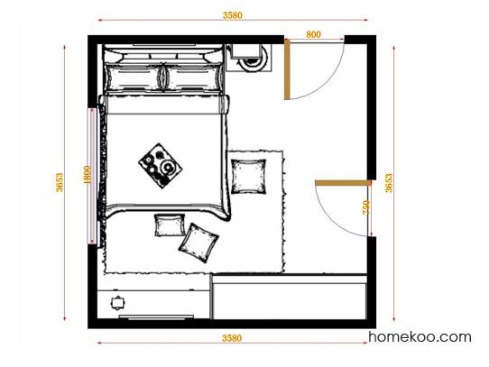 平面布置图格瑞丝系列卧房A14336