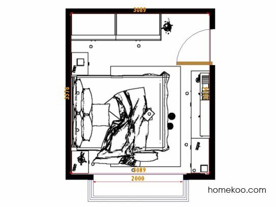 平面布置图格瑞丝系列卧房A14386